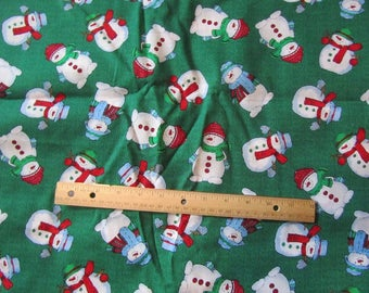 Green Snowman Christmas Fabric by the Yard