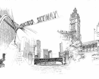 Chicago Landmark Drawing