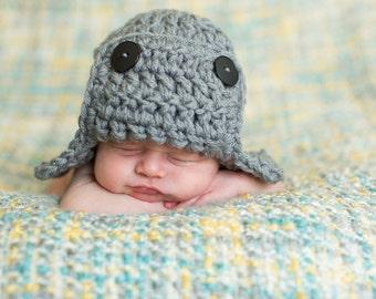 Pilot Hat / Aviator Hat / Newborn Aviator Hat / Baby Pilot Hat / Gray Aviator Hat  / Newborn Bomber Hat / Aviator Bomber / Baby Pilot Hat