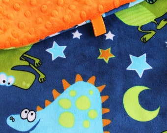 Minky Lovey Blanket, Security Blanket Dinosaur Print Minky with Orange Dimple Dot Minky Backing - great for a new baby