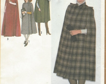 1970s Womens Lined Cape in 3 Lengths Maxi or Midi With or Without Hood Simplicity Sewing Pattern 9165 Size 10 12 Bust 32 1/2 to 34 FF