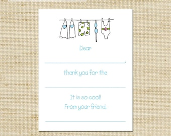 POOL PARTY thank you cards, Summer Birthday Party, Pool Party, Kids Clothes Line, Fill In the blank Thank You Cards, Cards and Envelopes