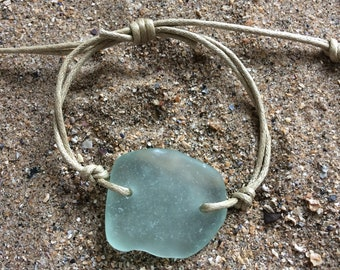 Vegan friendly Welsh Gower sea glass waxed cord bracelet/beach glass/recycled/adjustable nautical bracelet
