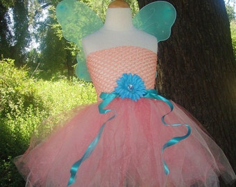 CORAL FAIRY - Infant or Toddler Coral Pink and Turquoise Tutu Dress Costume Set - Perfect for Birthdays, Halloween, Portraits  or Dress Up