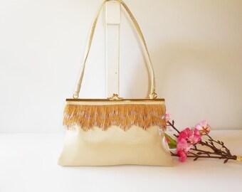 Gold Evening Bag, Vintage Bag, Gold Beaded Bag, Glamorous Purse, Sparkly Purse, Gold Handbag  EB-0056
