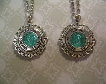 2 Friends Faux Druzy Glitter Torquoise Cabochon Necklaces Jewelry Gift