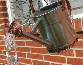 Crystal Pouring Water Watering Can - Copper & Galvanized Steel - Garden Art Decor Gift