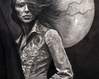 MIDSUMMER SPECIAL 25% OFF ~ Don't Be Afraid Of The Moon (David Bowie tribute), A4 print (21 x 29cm)