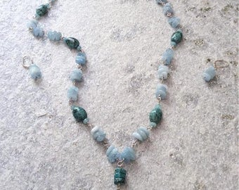 Turquoise and Aqua Marine wrapped with Sterling silver