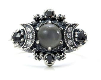 Grey Moonstone Cosmos Moon and Star Ring - Sterling Silver with Black Diamonds