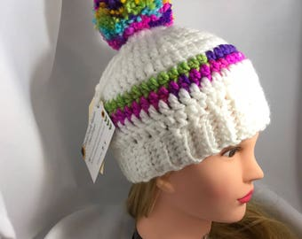 Beanie with PomPom - Rainbow Beanie - Crochet Beanie With Pom Pom - Crochet Child Hat - Pom Pom Beanie, gift for her, Toddler Hat, Toque
