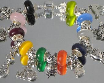 Crazy About 9 Cat's Charms European bracelet cat eyes black orange yellow pink green blue purple beads U pick size Help save a cat/kitten