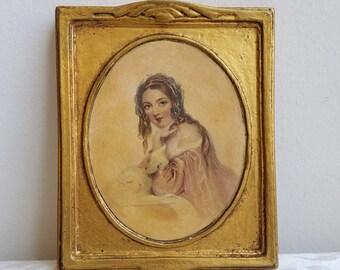 Antique Woman Portrait Gold Gilt Gesso on Wood Frame Wall Art By Regal Art Studios Chicago, Paris Apartment Boudoir