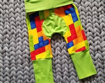 Miniloones, Grow With Me Pants, Maxaloons, Baby Leggings, Baby Maxaloones, Fall Baby Leggings, Baby Pants, Unisex Maxaloones, Building Block