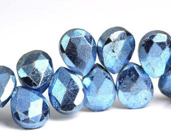 Pyrite Pear Briolette Beads Faceted Metallic Sky Blue Beads 7mm x 9mm, Unique Sparkle Semiprecious Gemstone Beads KJ