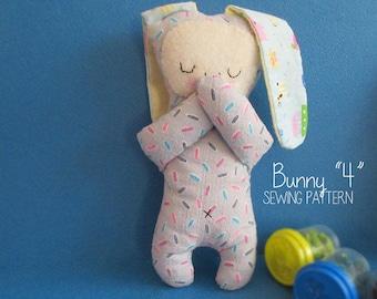 Easy PDF Pattern. Bunny Doll Pattern. Soft toy Pattern. Cloth toy Pattern. Handcraft.