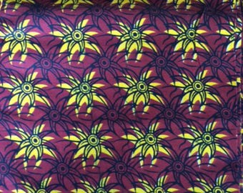 CottonBridge. African Fabric  Textile cotton fabric yellow and red