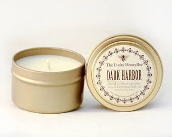 Dark Harbor || 6 oz Scented Candle || Soy + Beeswax Blend Candle in Gold Tin