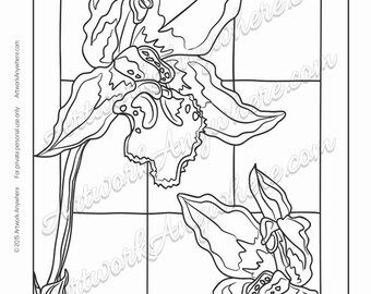 "Orchids on Glass ""Two Orchids in the Window"" Adult coloring page printable download from Artwork Anywhere ~hand drawn stained glass look~"