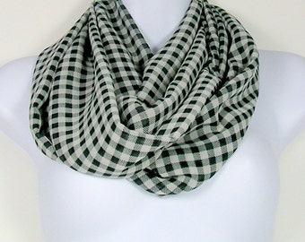 SALE Grey Gingham Infinity Scarf Gray Gingham Circle Scarf Gray Check Infinity Scarf Gray Check Womans Scarf Gingham Chiffon Check Scarves
