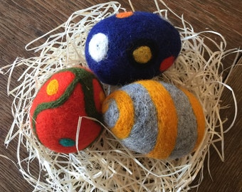 Felted Easter Egg Felting Decor Play Food Waldorf Wool Education Toy Set 3