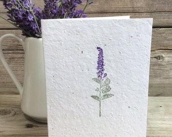 Lavender. Plantable Greeting Card. Wildflower Seeded Paper. Birthday/Thank You/Get Well. Eco-friendly Card. Wedding Thank You's. Seed Paper.