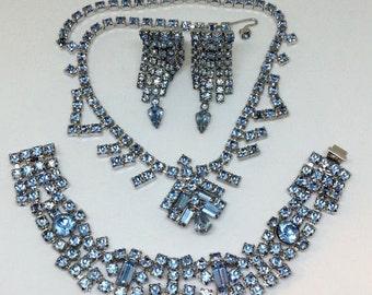 Vintage Ice Blue Rhinestone Parure Choker Necklace, Bracelet & Clip Earrings, Silver Tone Metal, Costume Jewelry