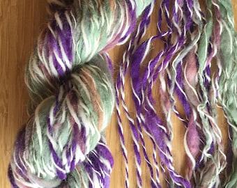 Eggplant Ombre Yarn 55yds Handspun Wool