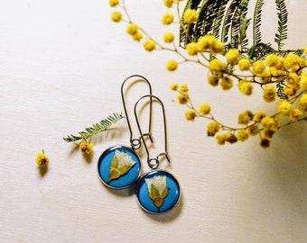 Resin Earrings / Real flowers / Earrings / Eco Jewelry / Rustic Jewelry / Real Flower Jewelry / Pressed Flowers Earrings / Epoxy / Gift