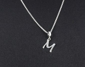 Letter M Necklace - Personalized Jewelry Gift for Her - Silver Letter M Initial Necklace Jewelry