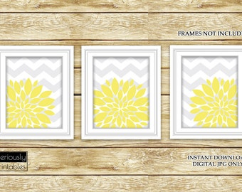 Yellow Flower Burst Wall Art Gray Chevron Bathroom Bedroom Livingroom Nursery Decor Printable 3-8x10 Digital JPG Instant Download (45)