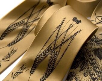 Beer silk tie. Hops, barley & wheat screenprinted necktie. Honey or pale copper silkscreened men's tie, espresso ink.