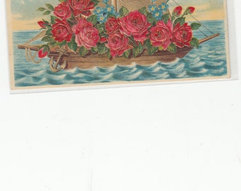 "Antique Postcard Fantasy Boat Embossed Roses Rich Gold Sail ""Heartiest Congratulations"""