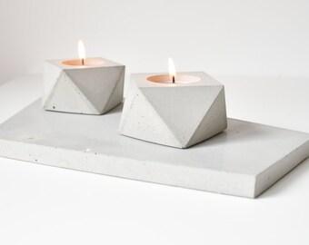 FORMA   Concrete Tea Candle Holder - Set of 2
