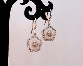 White Wedding Earrings Gift for Bridesmaids Earrings Wedding Jewelry White Flower Earrings Floral Earrings White Gold Dangle Earrings Gifts