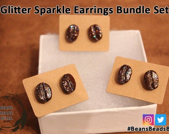 Coffee Bean Glitter Earrings Gift Set! Real Coffee Glitter Earrings - Shiny, Sparkly, Glittery Coffee Bean Earrings - Handmade in the U.S.A.