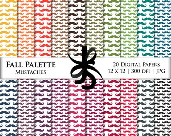 Digital Scrapbook Papers-Fall Palette-Mustache Pattern-Autumn-Masculine-Clipart-Backgrounds-Wallpaper-Printable-Instant Download Clipart