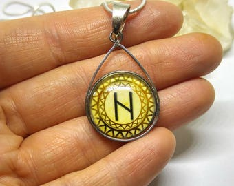 HAGALAZ Protection Rune Symbol Pendant Viking Necklace Metaphysical Norse Rune Magic Pagan Gift Glass Dome Cameo Jewelry