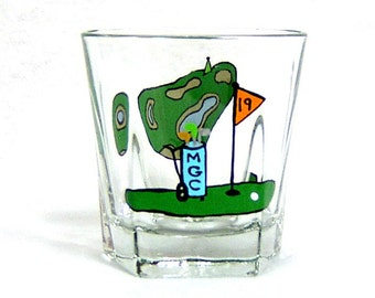 Old Fashion - Highball Glass Golfing Hand Painted