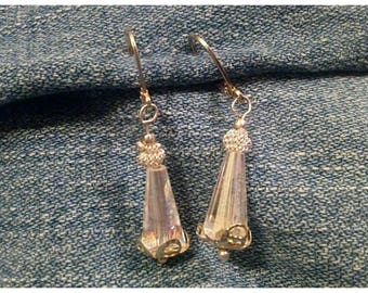 Sparkling Cut Crystal and Silver Textured Accent Dangle and Drop Earrings on Silver-Plated Leverbacks