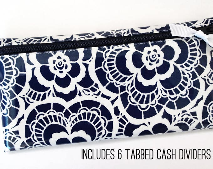 Navy lace laminated cotton cash wallet with tab dividers for Dave Ramsey budget