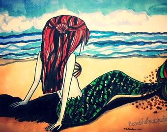 The little mermaid, fairy tale, fairy tale art, fairy tale gift, mermaid art, mermaid decor, wall art, illustration, art print, gift for her