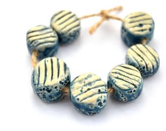 7 Handmade Ceramic Beads, Nautical Beads, Textured Beads, White / Blue Beads, White Clay Beads, Jewelry Supplies