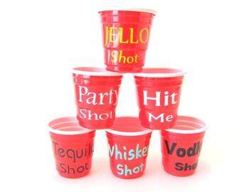 Customize 12 Plastic Shot Glasses, Jello Shots, Alcohol Shots, Party Time, Vinyl Color Choice, Font Choice