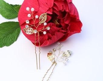 Rhinestone Hair Pins, Wedding Hair Jewelry, Bridal Head Pieces, Gold Wedding Hair Accessories, Crystal Hair Pins, Pearl Hair Pins, Set of 2