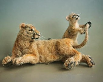 Needle Felted Animal.  Mother Lioness and cub. Ready to ship.