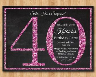 40th birthday invitation for Women. Pink Glitter Birthday Party invite. Adult Surprise Birthday. Elegant. Printable digital DIY.