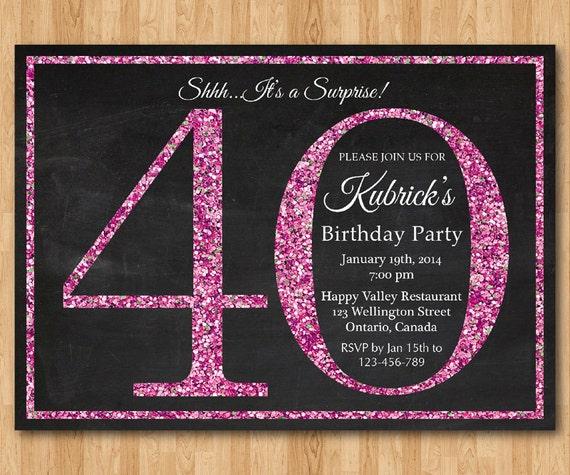 40th Birthday Invitation For Women Pink Glitter Birthday