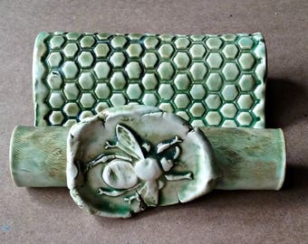 Ceramic Sponge Holder Business Card Holder Cell phone holder Moss green Bee