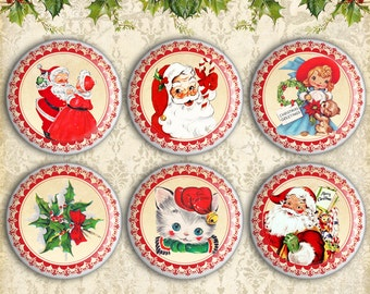 Christmas Circles 1.5 inch & 1 inch size on Digital Collage Sheet best for Paper craft, jewelry making, bottle caps - CHRISTMAS CIRCLES
